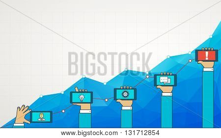 Blue business chart graph with line of increase. Strategy of business development