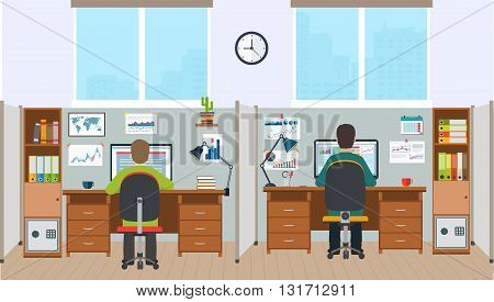 Workstation office interior with employees. Office space with the workers.