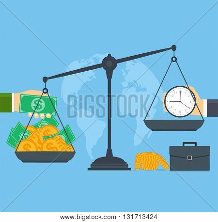 Time and money on scales concept business people.