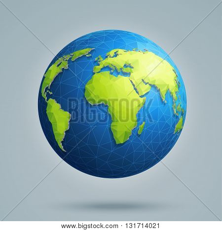 Polygonal 3D globe with global connections. Earth world map.