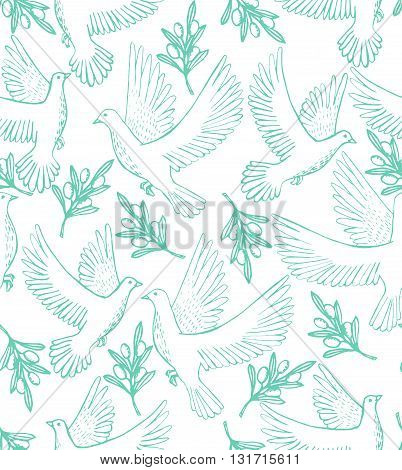 vector seamless hand-drawn background with doves and olive branches
