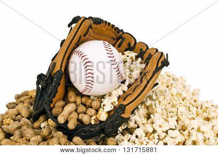 Baseball with baseball glove, popcorn and peanuts. Baseball Time Concept