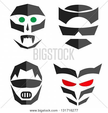 Set of hero mask. Superhero vector costume accessories.