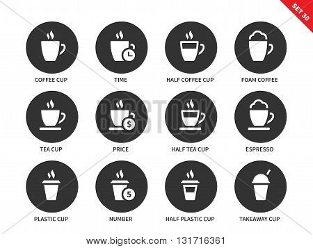 Kinds of coffee vector icons set. Break and relax concept. Items for advertising in shops an cafes, half coffee cup, half coffee cup, tea cup, espresso and plastic cups. Isolated on white background