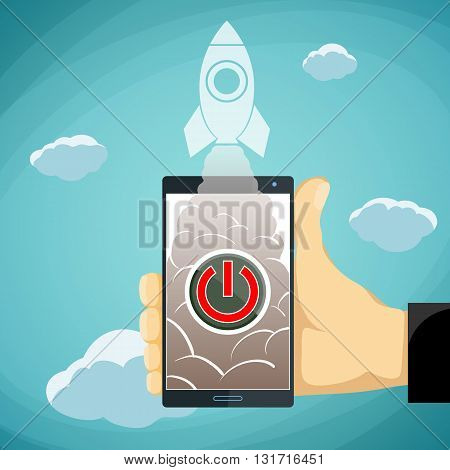 Human hand holding a smartphone with a button and a rocket. Stock vector illustration.