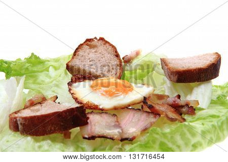 Ham And Eggs With Lettuce And Bread