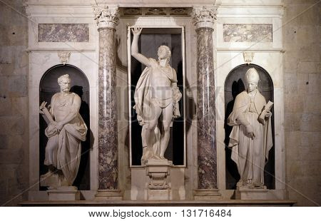 LUCCA, ITALY - JUNE 06, 2015: Resurrection of Christ altar in the chapel of Liberty by  Giambologna in the Cathedral of St Martin in Lucca, Italy, on June 06, 2015