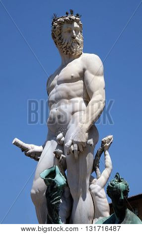 FLORENCE, ITALY - JUNE 05: Statue on the Fountain of Neptune on the Piazza della Signoria in Florence, Italy, on June 05, 2015