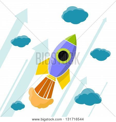Rocket is flying in the clouds. Stock vector illustration.