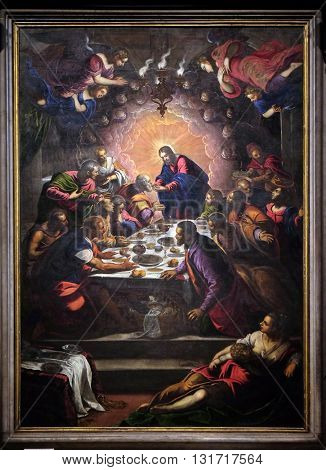 LUCCA, ITALY - JUNE 06, 2015: Altarpiece depicting the Last Supper by Tintoretto in Cathedral of St.Martin in Lucca, Italy, on June 06, 2015