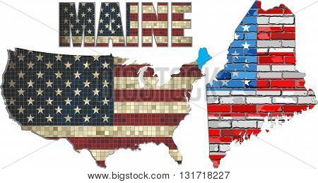 USA state of Maine on a brick wall - Illustration, The flag of the state of Maine on brick textured background,  Maine Flag painted on brick wall, Font with the United States flag,  Maine map on a brick wall