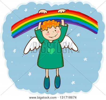 Vector illustration of little smiling angel and rainbow