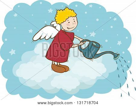 Vector illustration of angel and watering can