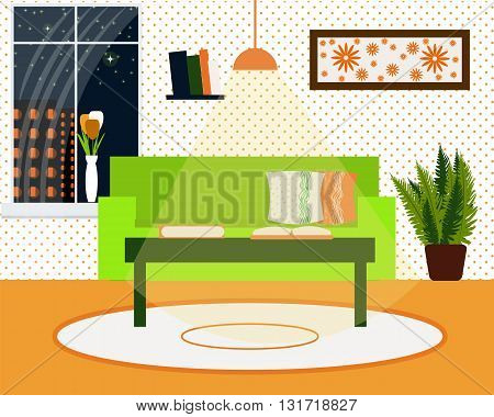 The interior of the living room in the evening, a sofa , a coffee table, a bookshelf, a plant and a window vector illustration