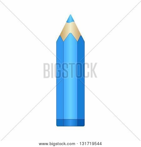 Big cyan pencil with sharpened lead. Vector EPS10