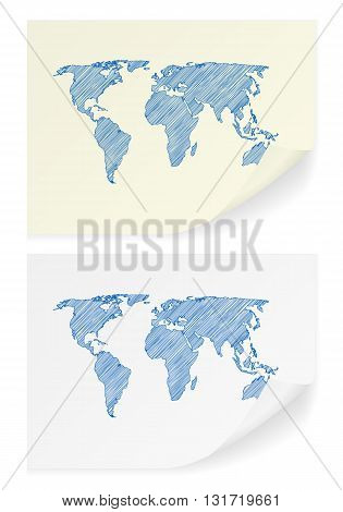 Scribble world map on a white background.
