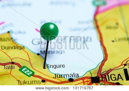Engure pinned on a map of Latvia