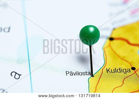 Pavilosta pinned on a map of Latvia