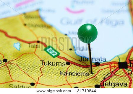 Kalnciems pinned on a map of Latvia