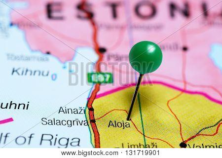 Aloja pinned on a map of Latvia