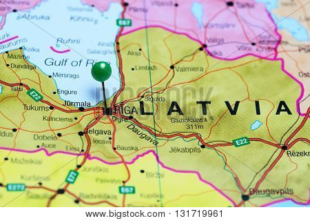 Riga pinned on a map of Latvia