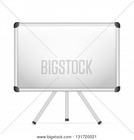 Whiteboard with tripod on a white background.