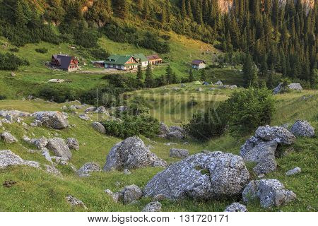 Tourist hut and tents in a Carpathian mountains.