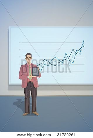 Polygonal office life creative vector illustration. Presentation businessman tablet. Polygon people collection.