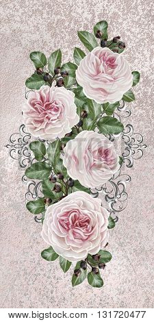Flower garland of pink camellias on a silver background. Silver weave. Old style floral background.