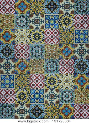 Flat view of an Arabic tile pattern. An oriental design pattern.