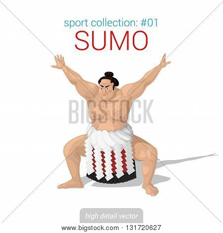 Sportsmen vector collection. Sumo fighter. Sportsman high detail illustration.