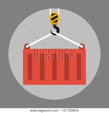 Crane lifts a container. Container hanging on crane hook icon