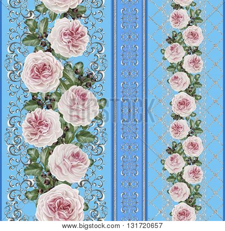 Vertical floral border. Pattern seamless. Old style gold border gold mosaic. Flower garland of pink camellias on a silver background. Silver weave.