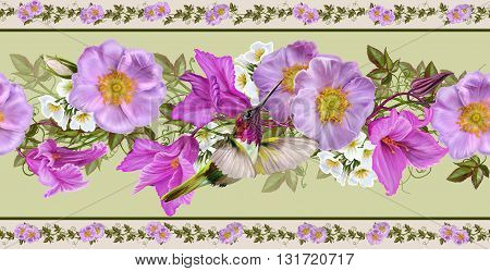 Horizontal floral border. Pattern seamless. Flower garland of pink roses and crimson cyclamen. Little bird hummingbirds.