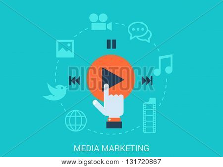 Flat style vector illustration social media marketing concept