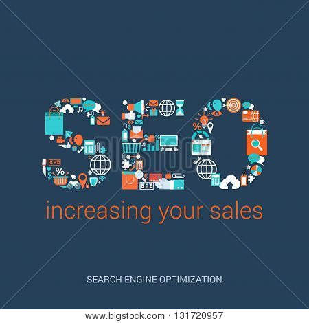 Flat style vector illustration SEO concept increasing your sales