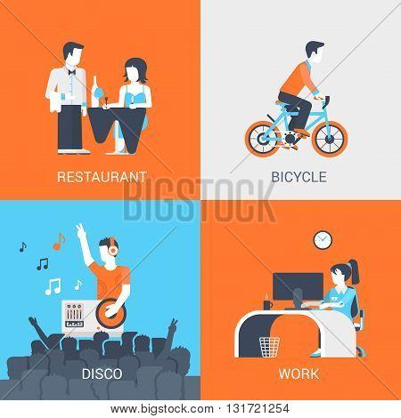 Lifestyle concept flat icons set people leisure restaurant disco