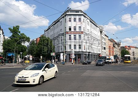BERLIN, GERMANY - MAY 12, 2016: road traffic at Rosenthaler Platz in the center of Berlin