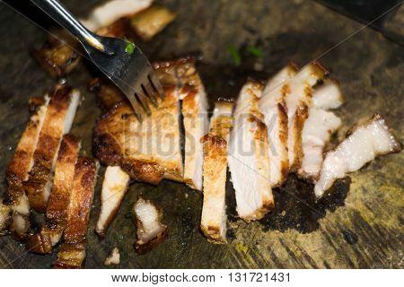 Roasted Pork On Old Cutting Board