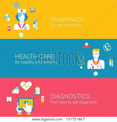 Medical pharmacy infographics flat icons set healthcare