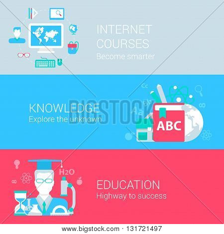 Online education courses infographics concept flat icons set