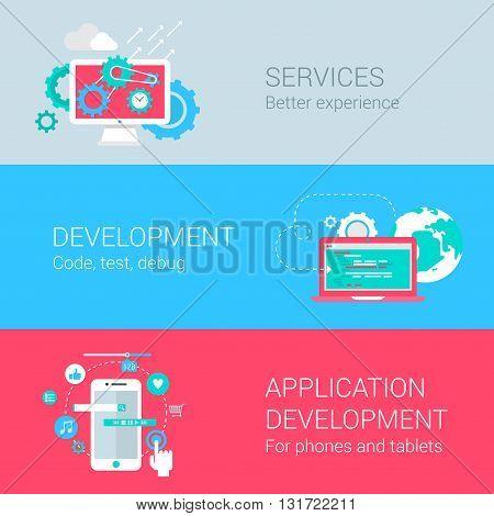 Appication development infographics app concept flat icons set
