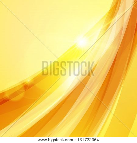 Abstract Orange Yellow Background. Vector Illustration. Summer Background. Wave Background With Ligh