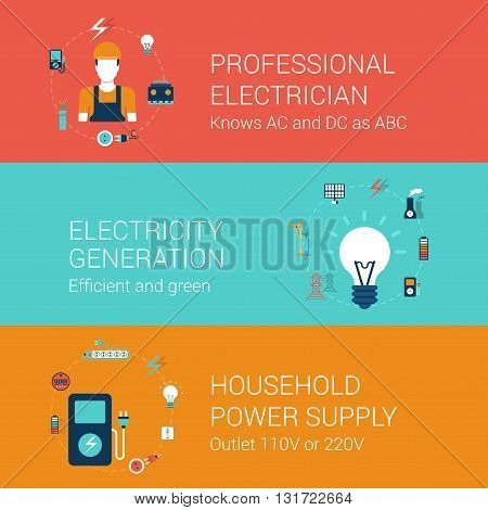 Electricity concept flat icons set professional electrician