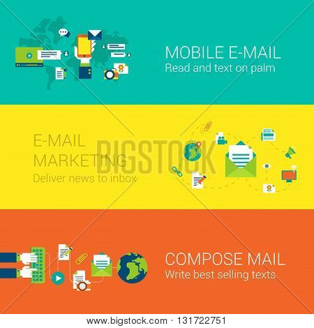 Email mobile marketing subscription concept flat icons set