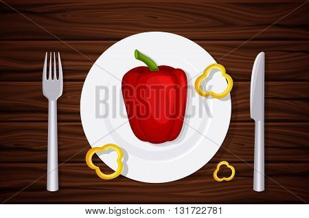 Excellent quality wood texture, table, table top, peppers on a plate, slices of pepper. Design vegetarian menu. Background of dark wooden planks. Vector illustration