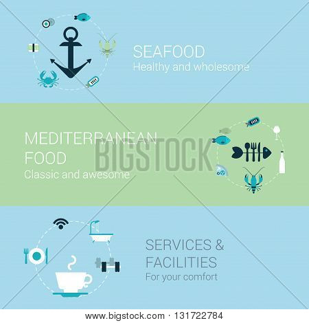 Seafood mediterranean food restaurant concept flat icons set