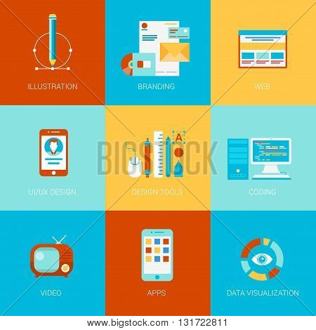 Flat website design icons set branding site interface ui ux html