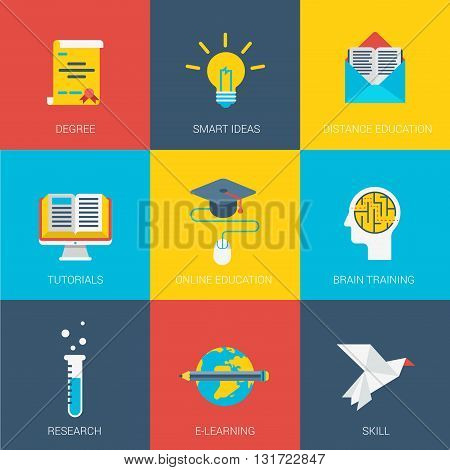 Flat education smart idea research design icons set graduate