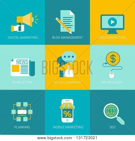 Flat online digital marketing business ingographics icons set